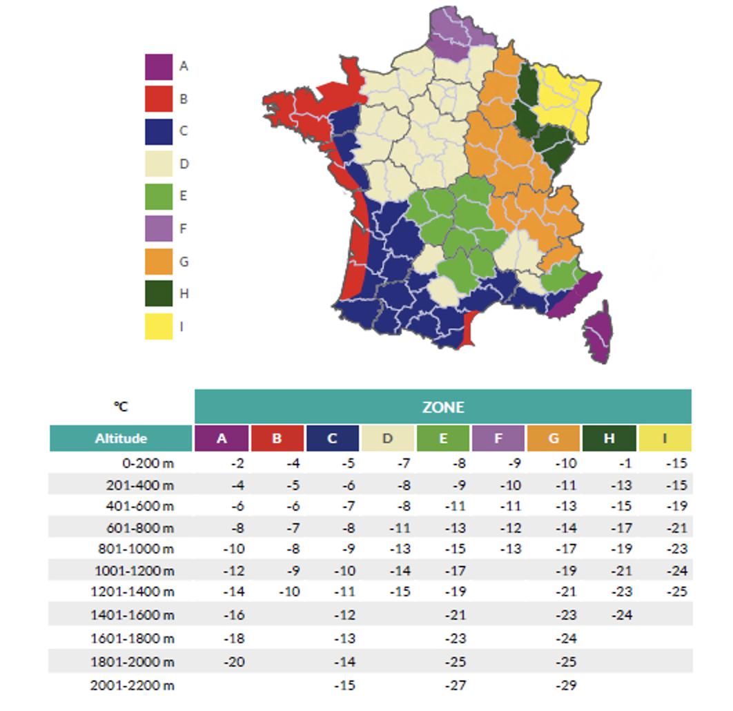 Carte de France représentant la température de base en fonction de la localisation